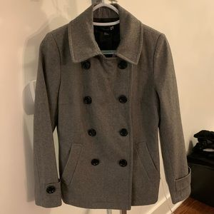 Forever 21 Gray Wool Blend Button Up Peacoat in M